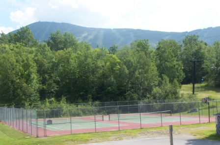 View of the slopes from tennis courts